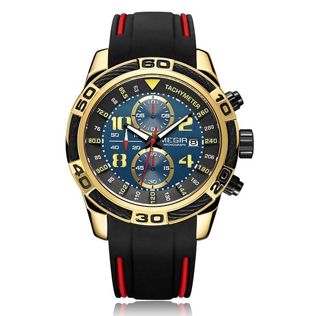 MEGIR สำหรับผู้ชาย นาฬิกาตกแต่งข้อมือ นาฬิกาอิเล็กทรอนิกส์ (Quartz) สไตล์ ไม่เป็นทางการ กันน้ำ ระบบอนาล็อก สีดำ สีทอง สีเงิน / หนึ่งปี / ไทเทเนี่ยมอัลลอย