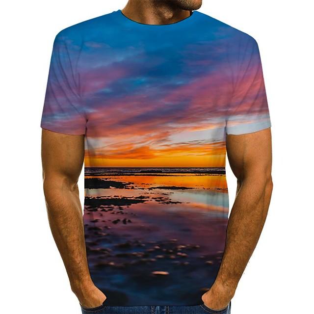 Voor heren T-shirt 3D-afdrukken Grafisch Opdruk Korte mouw Dagelijks Tops Street chic Oranje