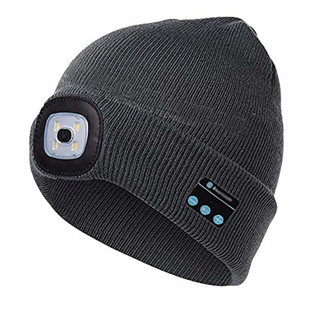 unisex warm beanie hat led flashlight wireless bluetooth smart cap headset headphone speaker mic for hunting, camping, jogging and more (grey)