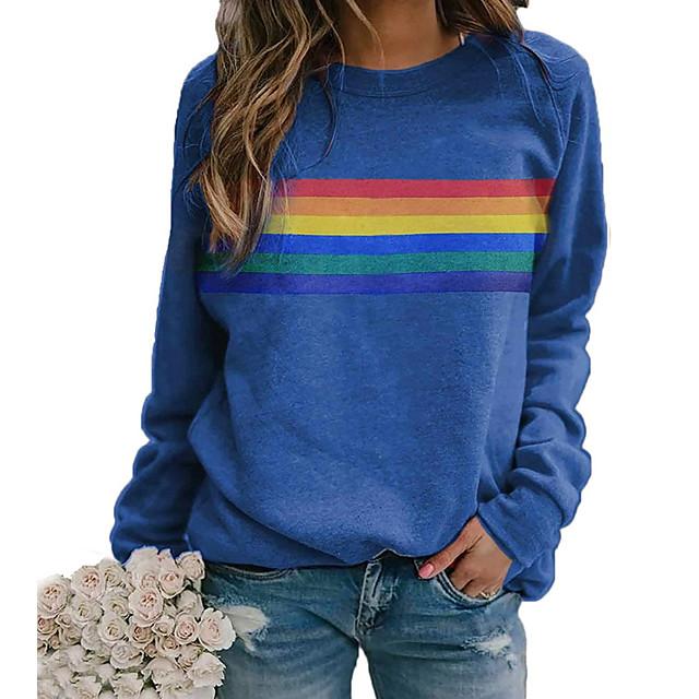 T-shirt Femme Quotidien à imprimé arc-en-ciel Graphique Manches Longues Col Rond Hauts Standard Haut de base basique Simple Bleu Rouge Kaki