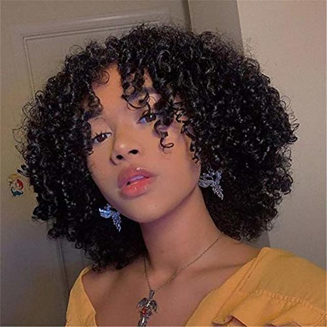 parrucche sintetiche ricci corti bob parrucche ricci crespi brasiliani con frangia nessuna parrucca in pizzo naturale per donne nere