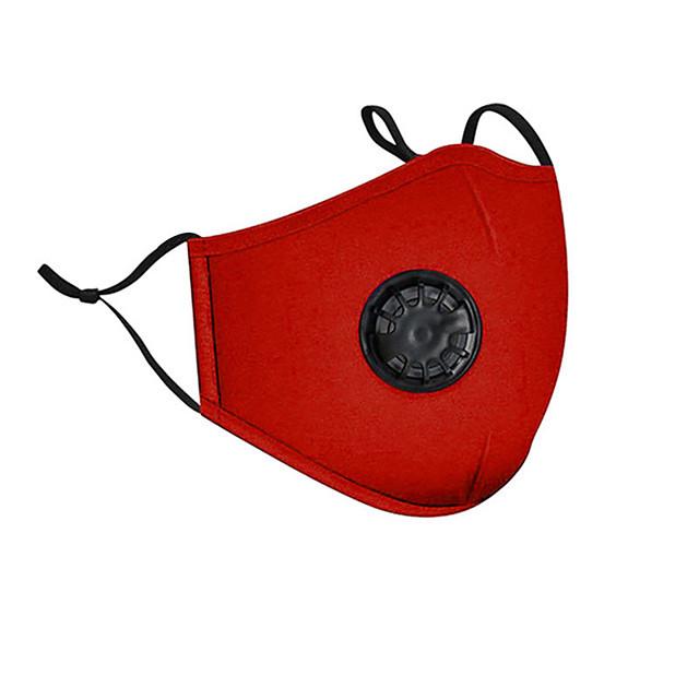 2 pezzi anti-smog pm2.5 maschera a carbone attivo maschera tridimensionale protettiva in cotone con valvola respiratoria