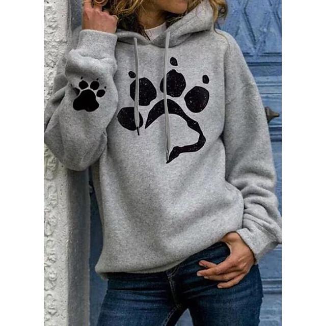 Dames Sweatshirt met capuchon Trui met capuchon Hond Grafisch Hart Opdruk Informeel Dagelijks Basic Hoodies Sweatshirts Kat zwart Zilver Lichtgrijs