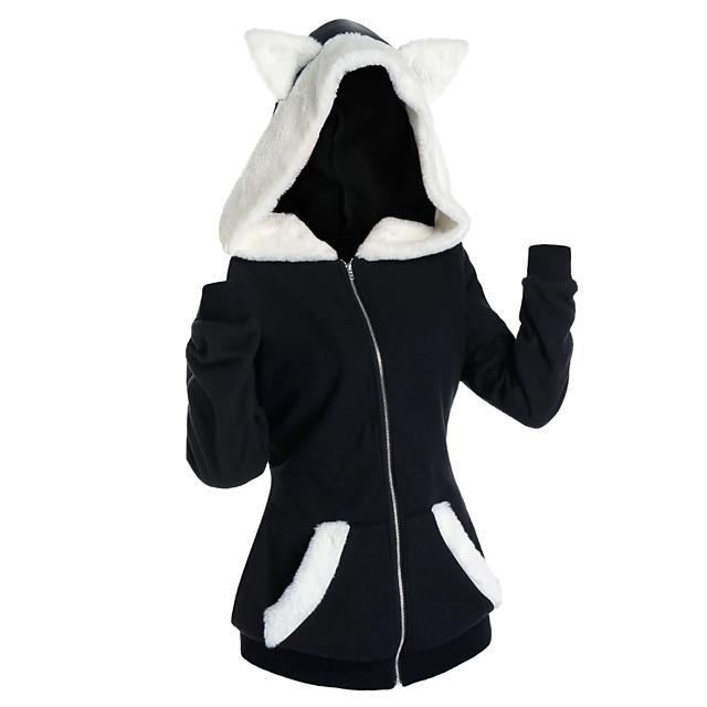 Dames Trui met capuchon Kleurenblok Effen Voorvak Kattenoor Dagelijks Informeel Hoodies Sweatshirts Zwart