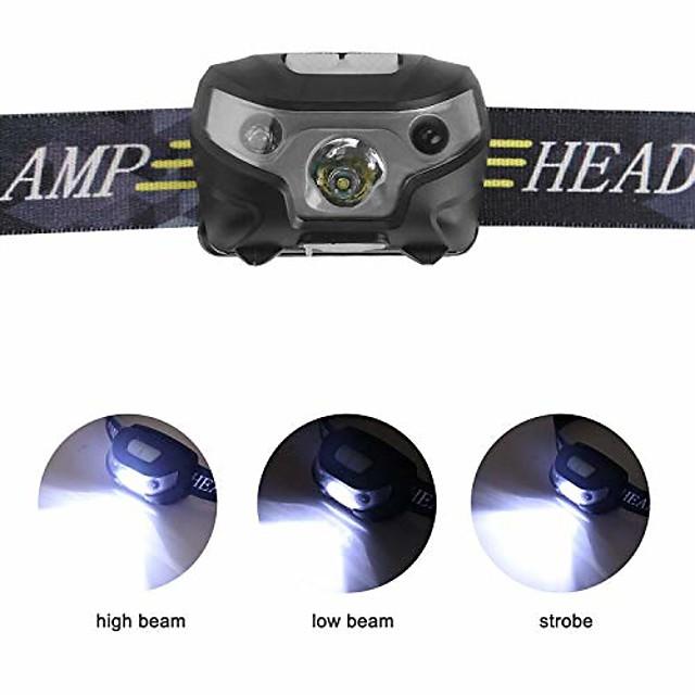 phares à LED rechargeables, avec modes d'induction lampe frontale à LED, câble USB mains libres phares, idéal pour le camping, la randonnée, le jogging (noir)