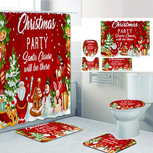 kerstman speelgoed digitaal printen vierdelige set douchegordijnen en haken moderne polyester machine gemaakt waterdichte badkamer
