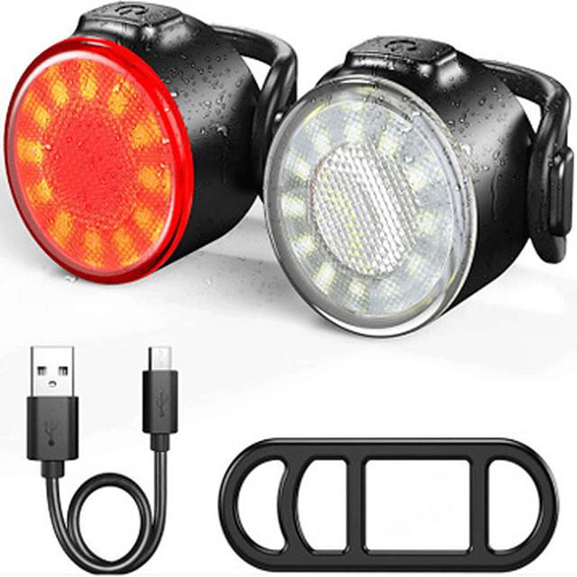 LED Luci bici luci incandescenza bici Luce posteriore per bici Luci di coda LED Bicicletta Ciclismo Impermeabile Portatile Uscita di ricarica USB Nuovo design Batteria al litio 200 lm Li-Batteria