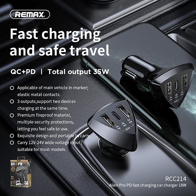 remax rcc214 자동차 충전기 2 double usb a type a 1 pd 52w 4.8a 전원 3 포트 빠른 충전 빠른 전화 12v-24v 검정색 1pcs al abs meterials