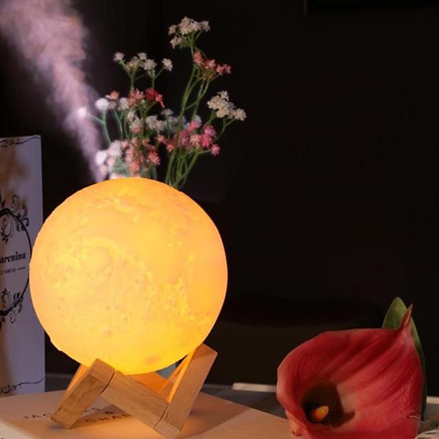 Diffuseur d'arôme à ultrasons huiles essentielles humidificateur d'air USB lampe pleine lune veilleuse bureau brume purificateur 880 ml