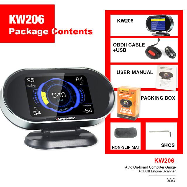 konnwei kw206 hud affichage tête haute 12v auto-styling hud affichage compteur de vitesse survitesse jauge de suralimentation obd2 lecteur de code de scanner de défaut de voiture