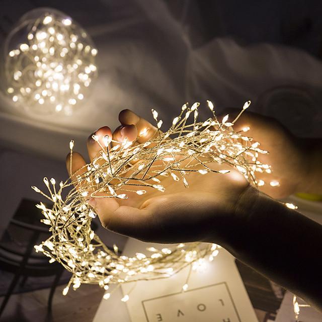 ip65 impermeabile stringa di luce led 5m 200led petardo luce fata flessibile 8 modalità albero di natale festa a casa vacanza decorazione del giardino illuminazione aa potenza della batteria luci