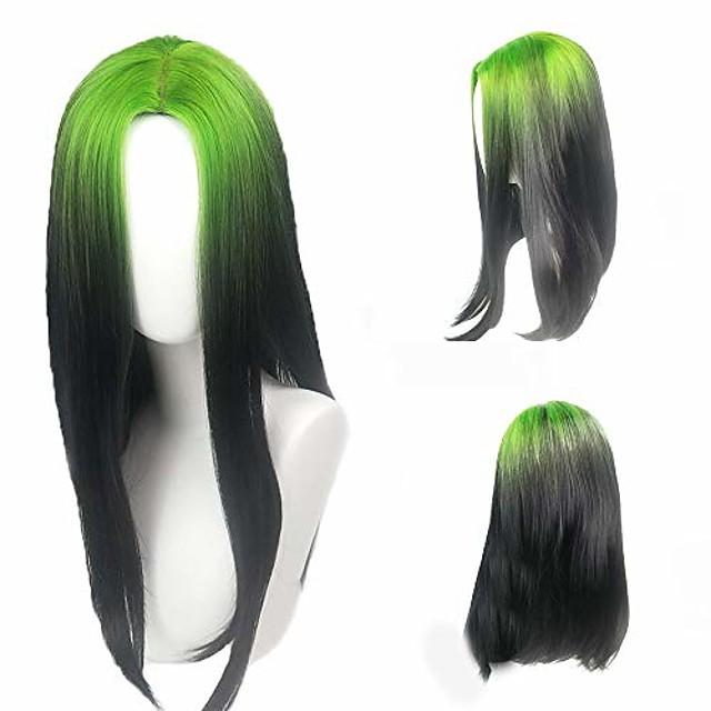 eilish parykk grønne røtter og svart cosplay parykk billie cosplay kostyme tilbehør sminke (billie parykk grønne røtter og svart)