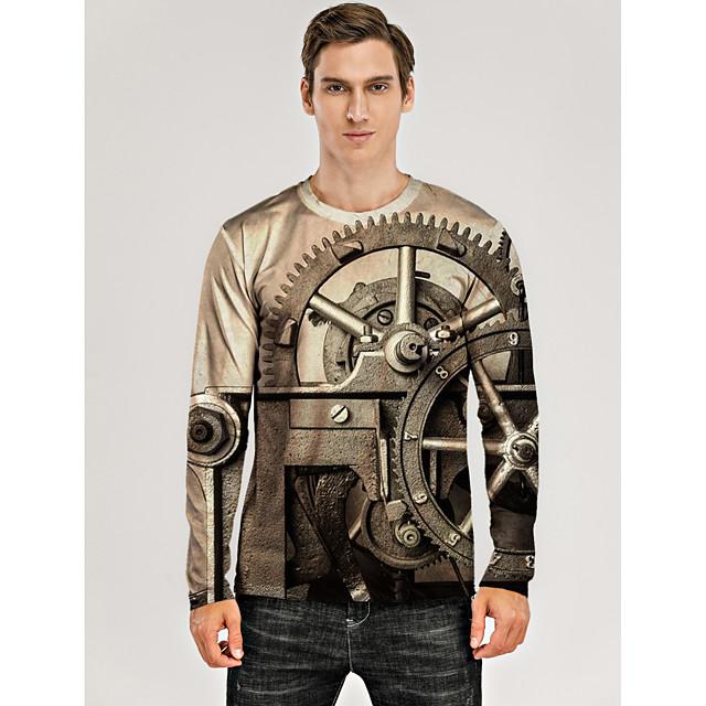Voor heren T-shirt 3D-afdrukken Grafisch 3D Machine Opdruk Lange mouw Dagelijks Tops Khaki