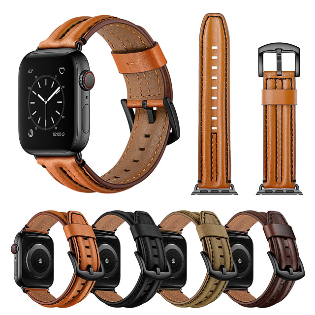 Pogledajte Band za Apple Watch Series 6 / SE / 5/4 44mm / Apple Watch Series 6 / SE / 5/4 40mm / Apple Watch Series 3/2/1 38mm Apple Kožni remen Prava koža Traka za ruku