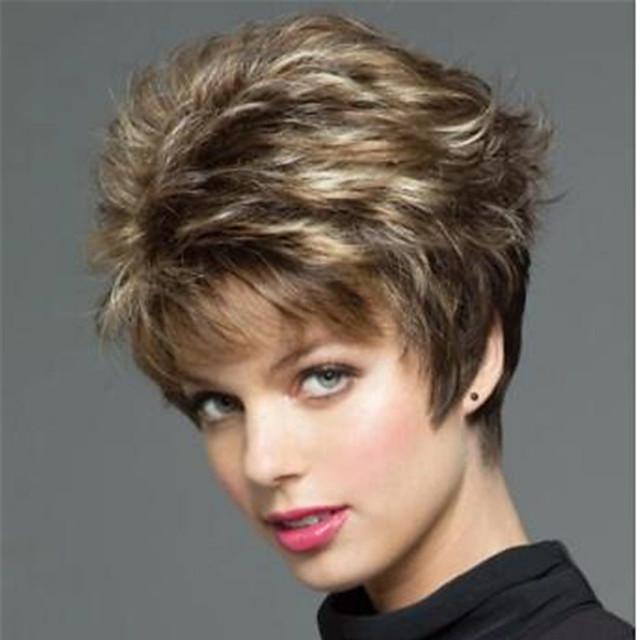 perruque synthétique bouclée perruque coupe lutin blonde courte brun clair brun foncé blond cheveux synthétiques design à la mode des femmes classique blond exquis brun clair