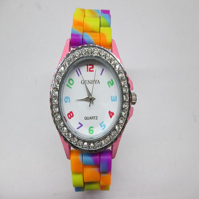 montre à quartz pour femme strass couleur arc-en-ciel gelée de silicium amusante jouer robe décontractée colorée montres-bracelets - bleu