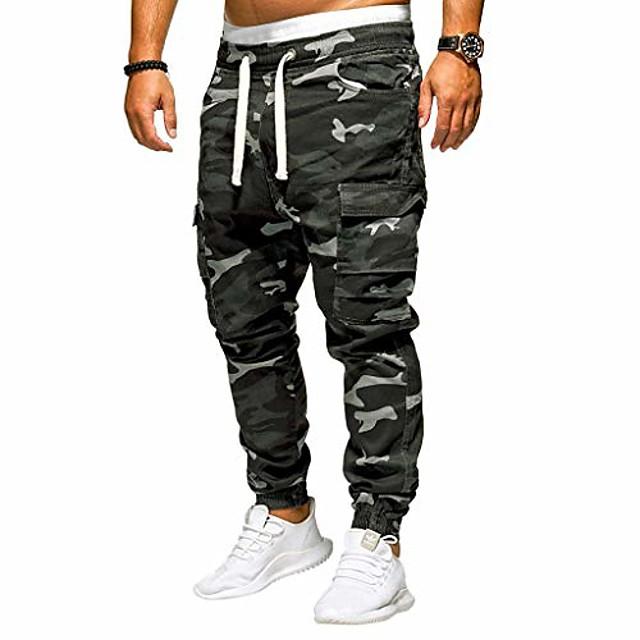 Fanshonn מכנסיים רצים לגברים - מכנסיים רופפים הסוואה אופנה מכנסי טרנינג מכנסיים טרנינג M-4xl