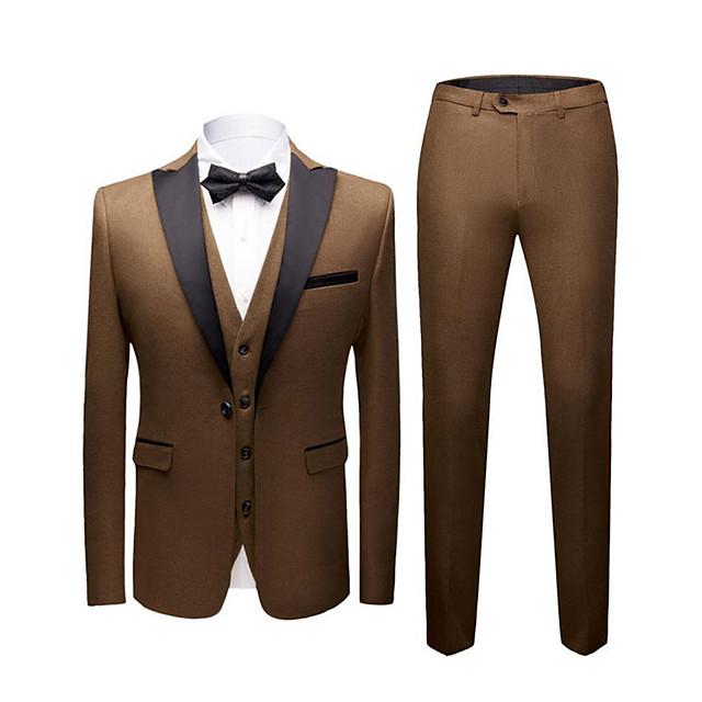 Noir / Rouge Bordeaux / Bleu Roi Couleur Pleine Coupe Slim Polyester Costume - En Pointe Droit 1 bouton / costumes