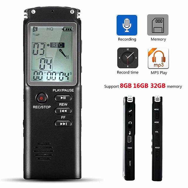 Registratore vocale da 32 gb, microfono incorporato, microfono incorporato, lettore mp3, registratore audio digitale, registratore di interviste con wavmp3
