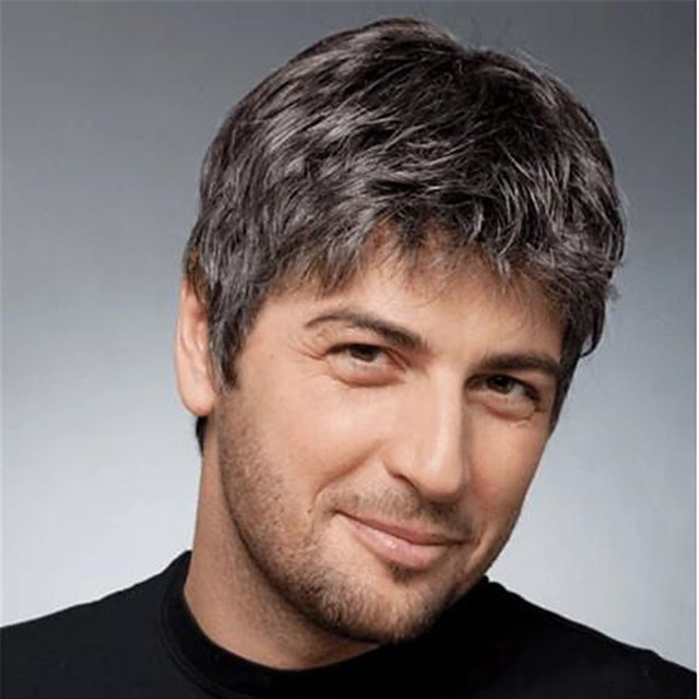 perruque synthétique droite courte bob perruque courte brun clair noir cheveux synthétiques design à la mode pour hommes classique exquis noir brun clair