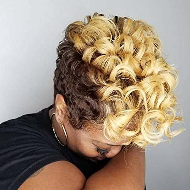 siyah kadınlar için kısa kıvırcık sentetik peruk afrikalı amerikan kadınlar için renkli kıvırcık saç peruk 6 stil mevcuttur (nas9632)