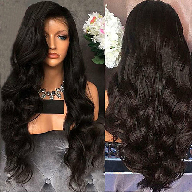 Perruque Synthétique Bouclé Ondulé Partie médiane Perruque Longue Noir Cheveux Synthétiques 26 pouce Femme Design à la mode Soirée Confortable Noir