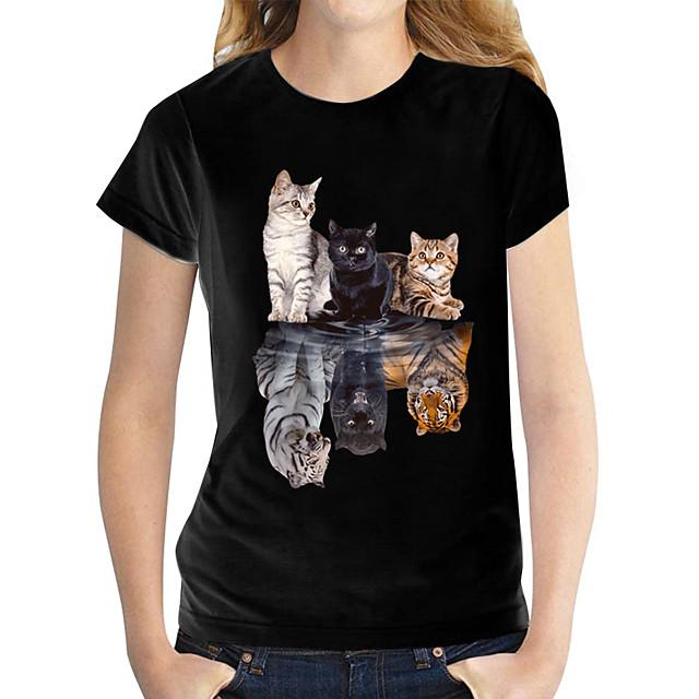 Dames T-shirt Vlinder Grafische prints Ronde hals Tops 100% katoen Basis-top Zwart en wit Kat Wit