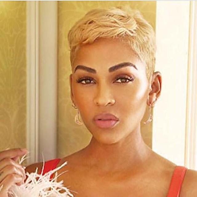 parrucche corte bionde taglio pixie per donne nere parrucche sintetiche per donne nere parrucche afroamericane corte (8740-bionda)
