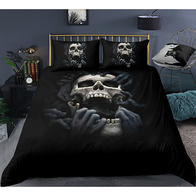 Skull Series Horrible Skull Print 3-Piece Duvet Cover Set Hotel Bedding Sets Comforter Cover with Soft Lightweight Microfiber For Room Decoration(Include 1 Duvet Cover and 1or 2 Pillowcases)