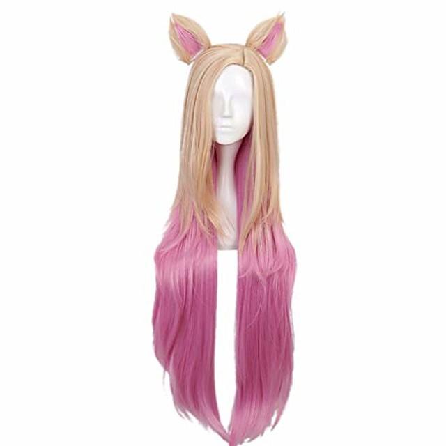 kda baddest ahri cosplay pruiken lol kda cosplay blonde gemengd roze pruiken met oren hittebestendig synthetisch haar spel