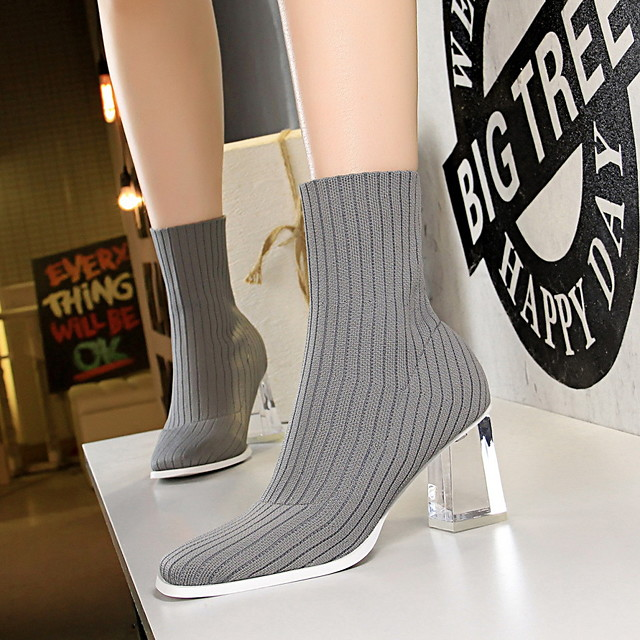 Womens Boots Chunky Heel Round Toe PU Booties / Ankle
