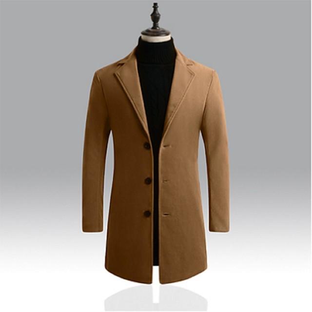 Homme Trench-coat Longue Couleur Pleine Quotidien basique Noir Kaki Bleu Roi Gris Clair M L XL XXL