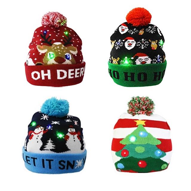 หมวกไหมพรมถักหมวกคริสต์มาสของขวัญคริสต์มาสสว่างหนึ่งขนาดหมวกอบอุ่นของขวัญปีใหม่สำหรับเด็กผู้ใหญ่
