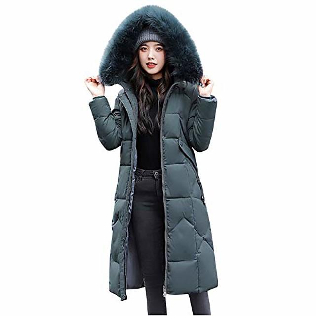 atrise giacca invernale con cappuccio da donna lungo, caldo soprabito pelliccia sottile cerniera con cappuccio sintetico cappotto più spesso capispalla verde