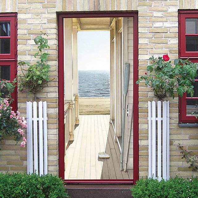 Creative autocollants de porte auto-adhésifs vente chaude bord de mer maison en bois salon chambre bricolage décoratif maison étanche stickers muraux