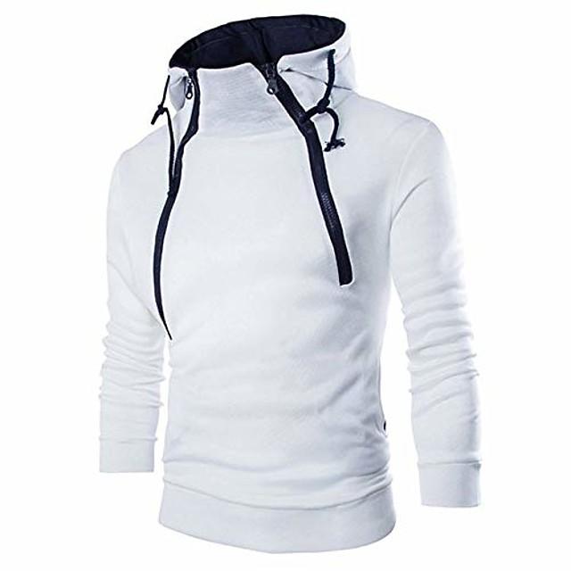 heren hoodies lange mouw rits hoge hals sweatshirt top jas jas (wit, 3xl)