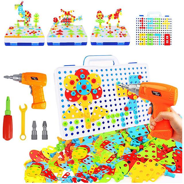 237-delige elektrische doe-het-zelf-boor-educatieve set, speelgoed voor het leren van de stam, 3D-bouwstenen voor bouwtechniek voor jongens en meisjes van 3 4 5 6 7 8 9 10 jaar oud, creatieve