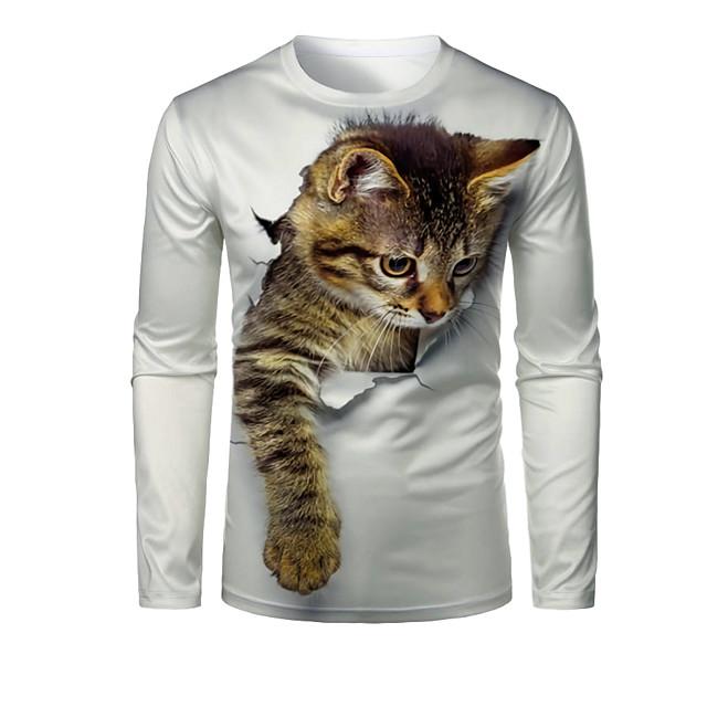 Homme T-shirt Impression 3D Chat Graphique 3D Animal Imprimé Manches Longues Quotidien Hauts 1# 2# 3#
