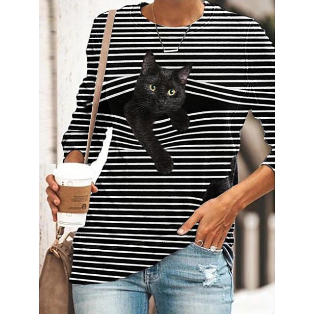 Dames Tuniek T-shirt Gestreept Kat 3D-cartoon Lange mouw Opdruk Ronde hals Tops Basic Basis-top Zwart blauw Geel