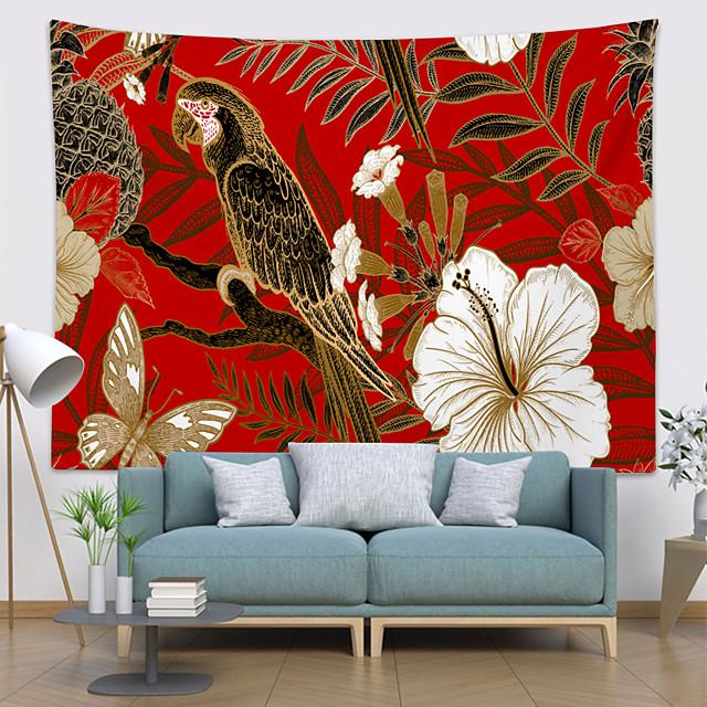 Wandtapijten art decor deken gordijn opknoping thuis slaapkamer woonkamer decoratie polyester vogel papegaai bloemen blad