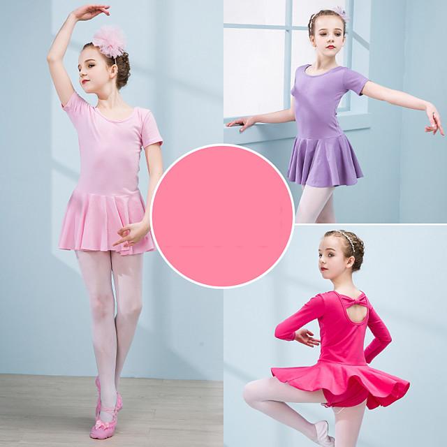 Mädchen Tänzer Tanzen Party Kostüme Cosplay Exotische Tanzbekleidung Elastan Baumwolle matte stieg Hellrot Rosa Kleid