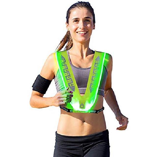 buitensporten nachtrijden hardlopen waarschuwing veiligheid reflecterende uitrusting rijriem usb opladen led oplichten mesh vest (groen + groen licht, a)