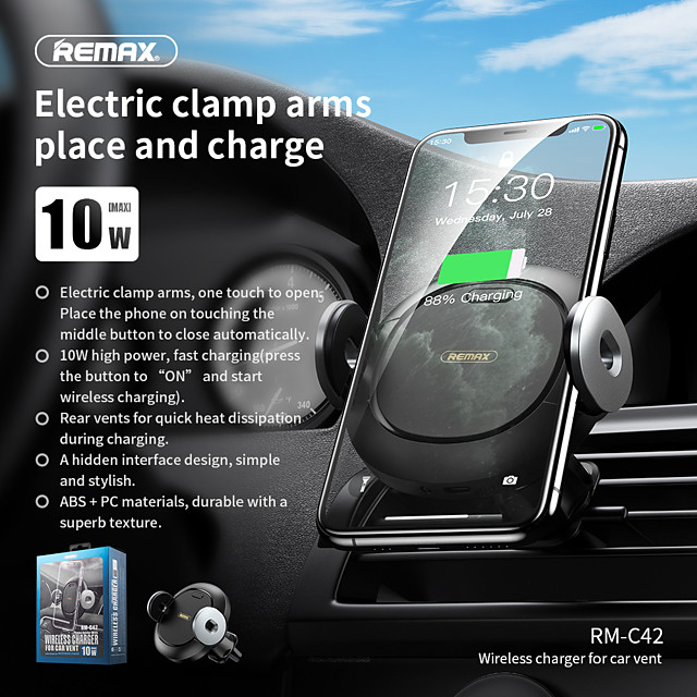 Remax 10 W Puissance de sortie Chargeur Sans Fil Chargeurs de voiture sans fil Chargeur Sans Fil Invalide Pour Pour Téléphone Téléphones de taille similaire