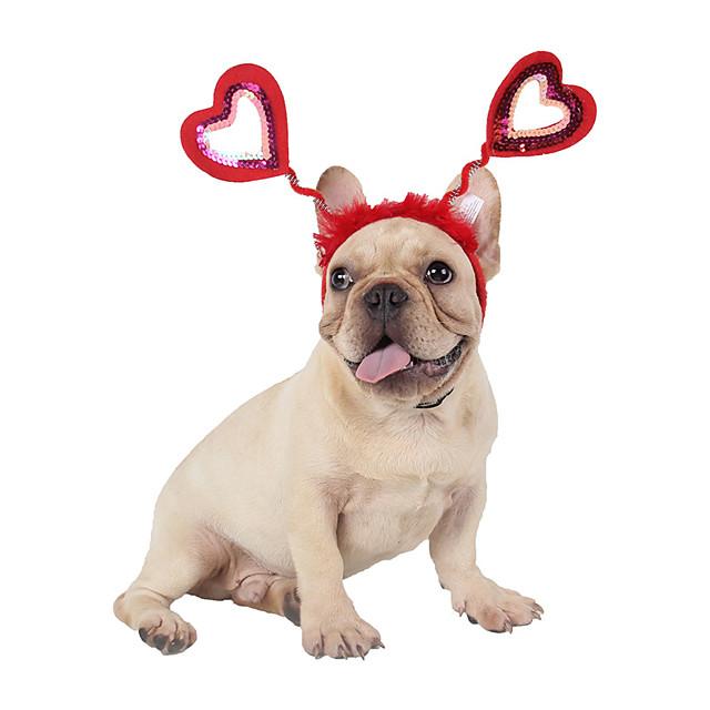 كلاب قطط اكسسوارات الشعر قبعات و شرايط شعر أزياء الكريسماس بابا نويل Elk بابا نويل الكوسبلاي مضحك عيد الميلاد مناسب للحفلات الشتاء ملابس الكلاب ملابس الجرو ملابس الكلب قابل للتعديل أحمر كوستيوم