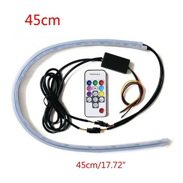 2pcs bandă de lumină pentru mașină telecomandă bară de lumină rgb streamer lumină led marchiză bandă de lumină colorată în aer liber controlabilă convenabil 45cm