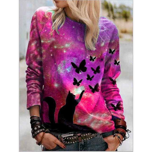 Polo Femme Quotidien Galaxie Chat Papillon Manches Longues Imprimé Col Rond Hauts Standard Haut de base basique Bleu Violet Rouge