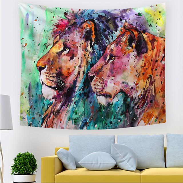 wandtapijten art decor deken gordijn picknick tafelkleed opknoping thuis slaapkamer woonkamer slaapzaal decoratie polyester kleurrijke leeuwen cartoon uitzicht