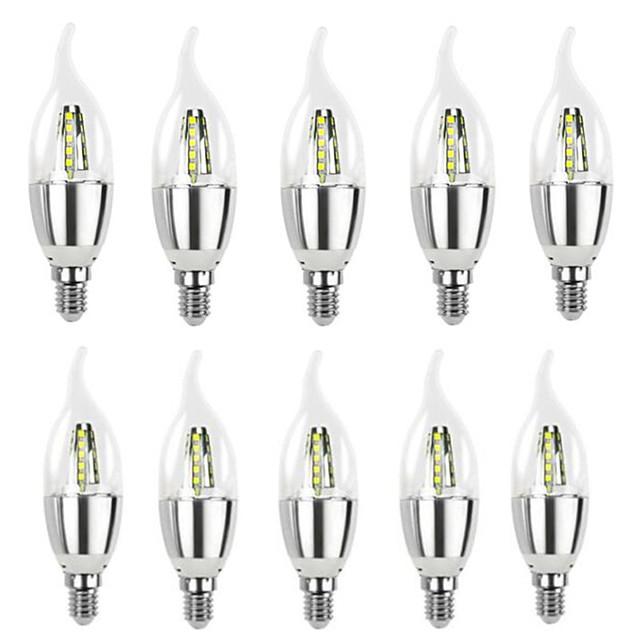 10 pcs Haute Lumineux Lampara LED E14 Bougie LED Ampoule 5W 7W LED Lampe 220V Argent Cool Ampoule Blanc