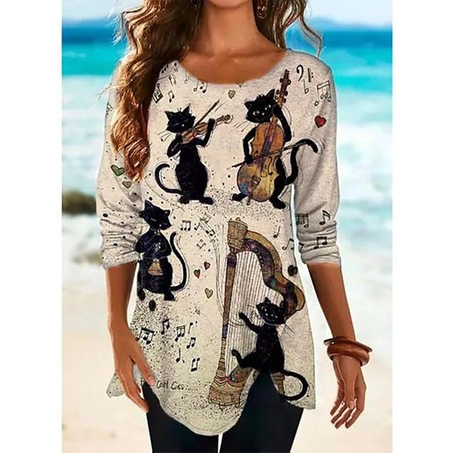 Robe t-shirt Tunique T-shirt Femme Quotidien Chat Graphique Animal Manches Longues Imprimé Col Rond Hauts Ample Haut de base Coton basique Chic de Rue Blanche Kaki Gris