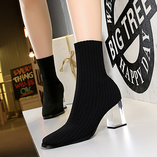 Womens PU Chunky Heel Ankle Boots Martin Boots Round Toe
